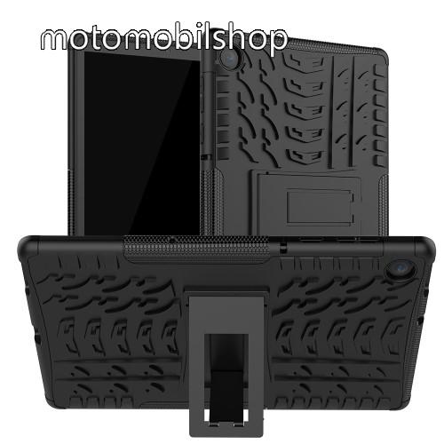 OTT! VROOM műanyag védő tok / hátlap - FEKETE - AUTÓGUMI MINTÁS - szilikon betétes, asztali tartó funkciós, ERŐS VÉDELEM! - Lenovo Tab M10 Plus (TB-X606F)