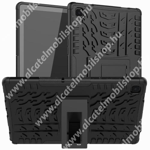 OTT! VROOM műanyag védő tok / hátlap - FEKETE - AUTÓGUMI MINTÁS - szilikon betétes, asztali tartó funkciós, ERŐS VÉDELEM! - SAMSUNG Galaxy Tab A7 10.4 (2020) (SM-T500/SM-T505)