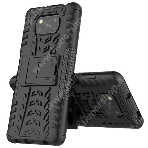 OTT! VROOM műanyag védő tok / hátlap - FEKETE - AUTÓGUMI MINTÁS - szilikon betétes, asztali tartó funkciós, ERŐS VÉDELEM! - Xiaomi Poco X3 / Poco X3 NFC