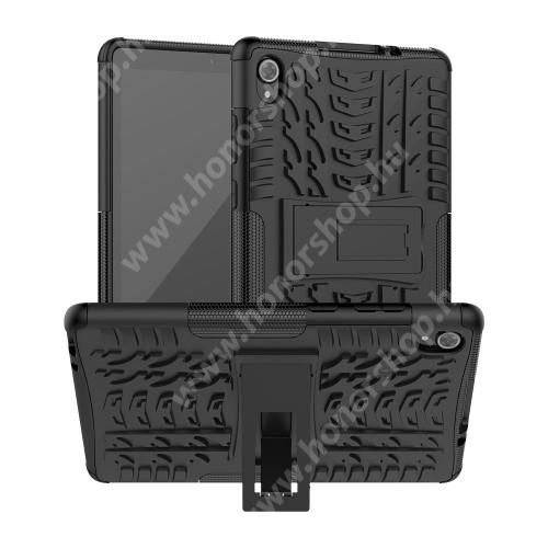 OTT! VROOM műanyag védő tok / hátlap - FEKETE - AUTÓGUMI MINTÁS - szilikon betétes, asztali tartó funkciós, ERŐS VÉDELEM! - Lenovo Tab M8 (FHD) (2nd Gen) (TB-8705)