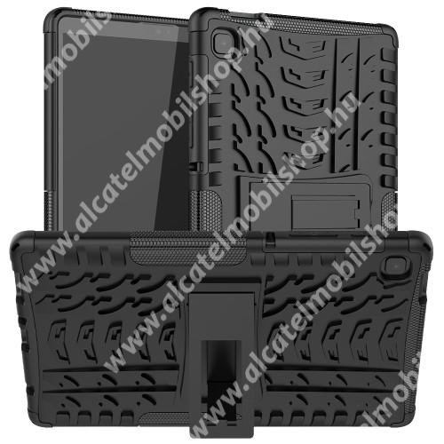 OTT! VROOM műanyag védő tok / hátlap - FEKETE - AUTÓGUMI MINTÁS - szilikon betétes, asztali tartó funkciós, ERŐS VÉDELEM! - SAMSUNG Galaxy Tab A7 Lite (SM-T220 / SM-T225)