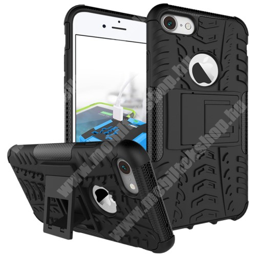OTT! VROOM műanyag védő tok / hátlap - FEKETE - AUTÓGUMI MINTÁS - szilikon betétes, asztali tartó funkciós, ERŐS VÉDELEM! - APPLE iPhone 7 (4.7)  / APPLE iPhone 8 (4.7)