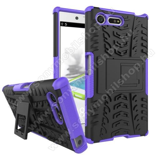 OTT! VROOM műanyag védő tok / hátlap - FEKETE / LILA - AUTÓGUMI MINTÁS - szilikon betétes, asztali tartó funkciós, ERŐS VÉDELEM! - Sony Xperia X Compact (F5321)