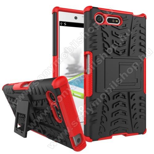 OTT! VROOM műanyag védő tok / hátlap - FEKETE / PIROS - AUTÓGUMI MINTÁS - szilikon betétes, asztali tartó funkciós, ERŐS VÉDELEM! - Sony Xperia X Compact (F5321)