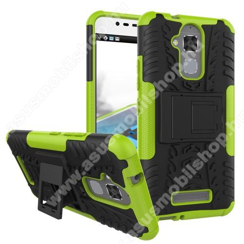 OTT! VROOM műanyag védő tok / hátlap - FEKETE / ZÖLD - AUTÓGUMI MINTÁS - szilikon betétes, asztali tartó funkciós, ERŐS VÉDELEM! - ASUS Zenfone 3 Max (ZC520TL)