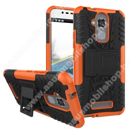 OTT! VROOM műanyag védő tok / hátlap - FEKETE / NARANCS - AUTÓGUMI MINTÁS - szilikon betétes, asztali tartó funkciós, ERŐS VÉDELEM! - ASUS Zenfone 3 Max (ZC520TL)