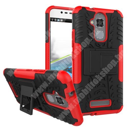 OTT! VROOM műanyag védő tok / hátlap - FEKETE / PIROS - AUTÓGUMI MINTÁS - szilikon betétes, asztali tartó funkciós, ERŐS VÉDELEM! - ASUS Zenfone 3 Max (ZC520TL)