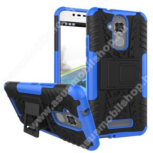 OTT! VROOM műanyag védő tok / hátlap - FEKETE / KÉK - AUTÓGUMI MINTÁS - szilikon betétes, asztali tartó funkciós, ERŐS VÉDELEM! - ASUS Zenfone 3 Max (ZC520TL)