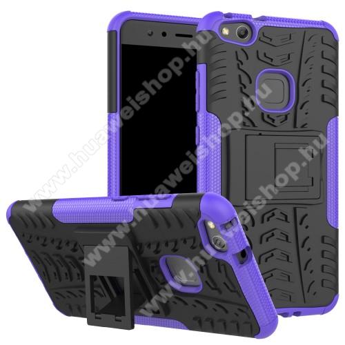 HUAWEI P10 LiteOTT! VROOM műanyag védő tok / hátlap - FEKETE / LILA - AUTÓGUMI MINTÁS - szilikon betétes, asztali tartó funkciós, ERŐS VÉDELEM! - Huawei P10 Lite