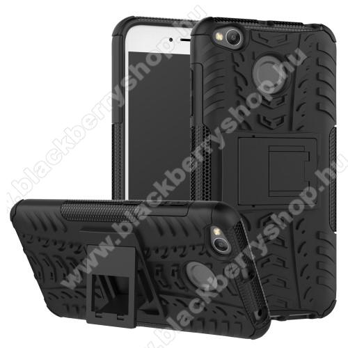 OTT! VROOM műanyag védő tok / hátlap - FEKETE - AUTÓGUMI MINTÁS - szilikon betétes, asztali tartó funkciós, ERŐS VÉDELEM! - Xiaomi Redmi 4X