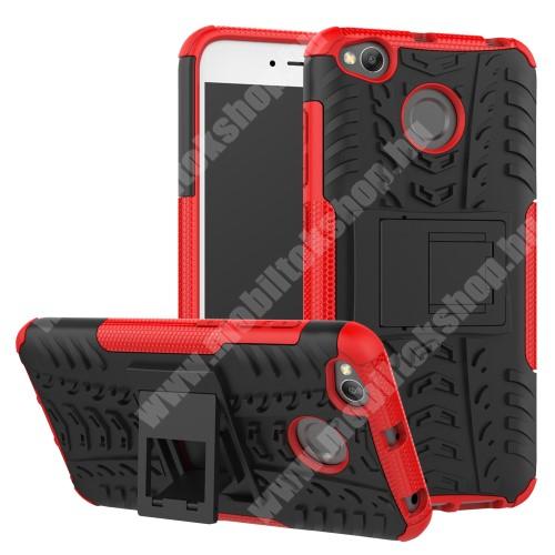 OTT! VROOM műanyag védő tok / hátlap - FEKETE / PIROS - AUTÓGUMI MINTÁS - szilikon betétes, asztali tartó funkciós, ERŐS VÉDELEM! - Xiaomi Redmi 4X