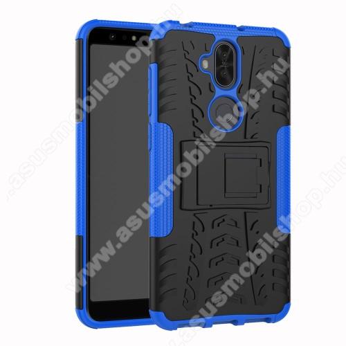 OTT! VROOM műanyag védő tok / hátlap - KÉK - AUTÓGUMI MINTÁS - szilikon betétes, asztali tartó funkciós, ERŐS VÉDELEM! - ASUS Zenfone 5 Lite (ZC600KL) (2018)