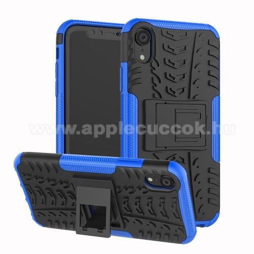 OTT! VROOM műanyag védő tok / hátlap - KÉK - AUTÓGUMI MINTÁS - szilikon betétes, asztali tartó funkciós, ERŐS VÉDELEM! - APPLE iPhone Xr