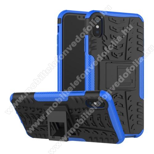 OTT! VROOM műanyag védő tok / hátlap - KÉK - AUTÓGUMI MINTÁS - szilikon betétes, asztali tartó funkciós, ERŐS VÉDELEM! - APPLE iPhone XS Max