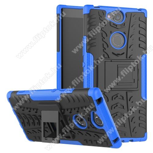 OTT! VROOM műanyag védő tok / hátlap - KÉK - AUTÓGUMI MINTÁS - szilikon betétes, asztali tartó funkciós, ERŐS VÉDELEM! - SONY Xperia XA2 Plus