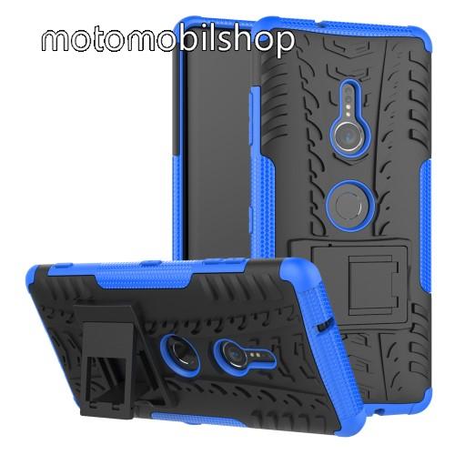 OTT! VROOM műanyag védő tok / hátlap - KÉK - AUTÓGUMI MINTÁS - szilikon betétes, asztali tartó funkciós, ERŐS VÉDELEM! - Sony Xperia XZ3