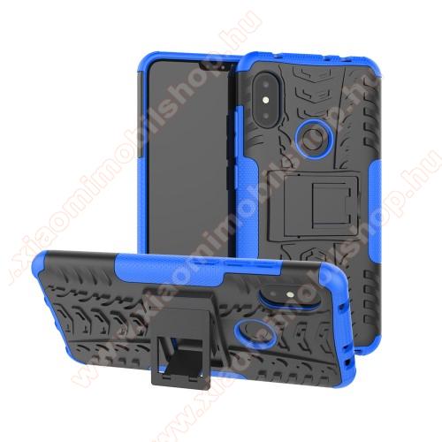 OTT! VROOM műanyag védő tok / hátlap - KÉK - AUTÓGUMI MINTÁS - szilikon betétes, asztali tartó funkciós, ERŐS VÉDELEM! - Xiaomi Redmi Note 6 Pro