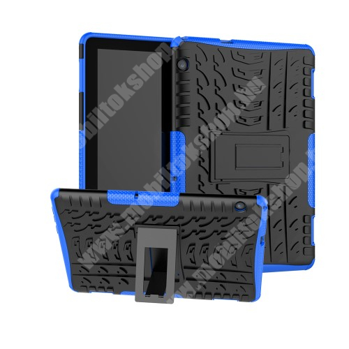 OTT! VROOM műanyag védő tok / hátlap - KÉK - AUTÓGUMI MINTÁS - szilikon betétes, asztali tartó funkciós, ERŐS VÉDELEM! - HUAWEI MediaPad T5 10