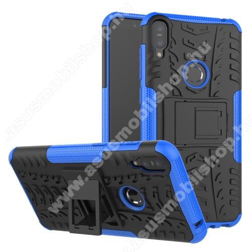 OTT! VROOM műanyag védő tok / hátlap - KÉK - AUTÓGUMI MINTÁS - szilikon betétes, asztali tartó funkciós, ERŐS VÉDELEM! - ASUS Zenfone Max Pro (M1) (ZB601KL) / ASUS Zenfone Max Pro (M1) (ZB602KL)