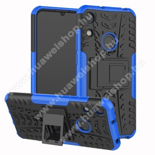 OTT! VROOM műanyag védő tok / hátlap - KÉK - AUTÓGUMI MINTÁS - szilikon betétes, asztali tartó funkciós, ERŐS VÉDELEM! - HUAWEI Honor 8A