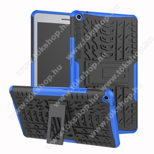 OTT! VROOM műanyag védő tok / hátlap - KÉK - AUTÓGUMI MINTÁS - szilikon betétes, asztali tartó funkciós, ERŐS VÉDELEM! - HUAWEI MediaPad T3 8.0