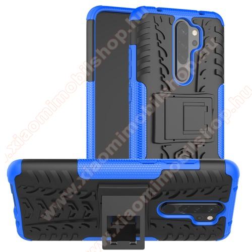 OTT! VROOM műanyag védő tok / hátlap - KÉK - AUTÓGUMI MINTÁS - szilikon betétes, asztali tartó funkciós, ERŐS VÉDELEM! - Xiaomi Redmi Note 8 Pro