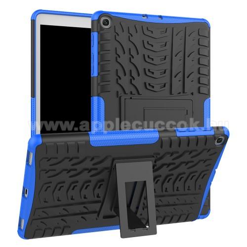 OTT! VROOM műanyag védő tok / hátlap - KÉK - AUTÓGUMI MINTÁS - szilikon betétes, asztali tartó funkciós, ERŐS VÉDELEM! - SAMSUNG Galaxy Tab A 10.1 Wi-Fi (2019) (SM-T510) / SAMSUNG Galaxy Tab A 10.1 LTE (2019) (SM-T515)