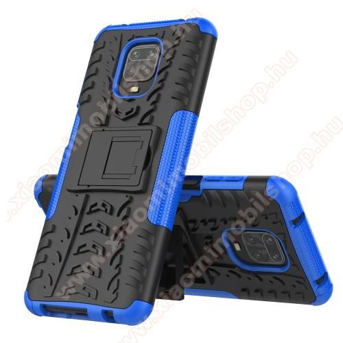 OTT! VROOM műanyag védő tok / hátlap - KÉK - AUTÓGUMI MINTÁS - szilikon betétes, asztali tartó funkciós, ERŐS VÉDELEM! - Xiaomi Redmi Note 9S / Redmi Note 9 Pro / Redmi Note 9 Pro Max / Poco M2 Pro