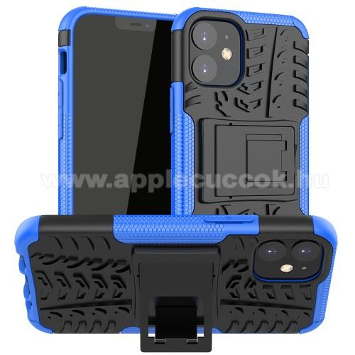 OTT! VROOM műanyag védő tok / hátlap - KÉK - AUTÓGUMI MINTÁS - szilikon betétes, asztali tartó funkciós, ERŐS VÉDELEM! - APPLE iPhone 12 mini