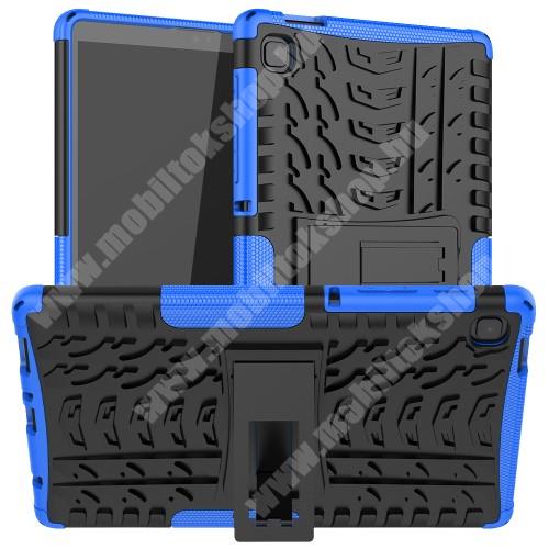 OTT! VROOM műanyag védő tok / hátlap - KÉK - AUTÓGUMI MINTÁS - szilikon betétes, asztali tartó funkciós, ERŐS VÉDELEM! - SAMSUNG Galaxy Tab A7 Lite (SM-T220 / SM-T225)