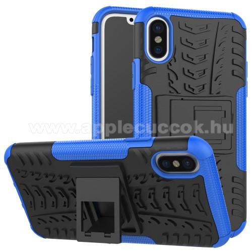 OTT! VROOM műanyag védő tok / hátlap - KÉK - AUTÓGUMI MINTÁS - szilikon betétes, asztali tartó funkciós, ERŐS VÉDELEM! - APPLE iPhone X / APPLE iPhone XS
