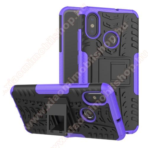 OTT! VROOM műanyag védő tok / hátlap - LILA - AUTÓGUMI MINTÁS - szilikon betétes, asztali tartó funkciós, ERŐS VÉDELEM! - Xiaomi Mi 8