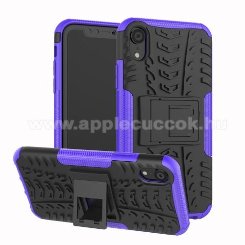 OTT! VROOM műanyag védő tok / hátlap - LILA - AUTÓGUMI MINTÁS - szilikon betétes, asztali tartó funkciós, ERŐS VÉDELEM! - APPLE iPhone Xr