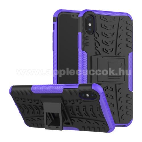 OTT! VROOM műanyag védő tok / hátlap - LILA - AUTÓGUMI MINTÁS - szilikon betétes, asztali tartó funkciós, ERŐS VÉDELEM! - APPLE iPhone XS Max