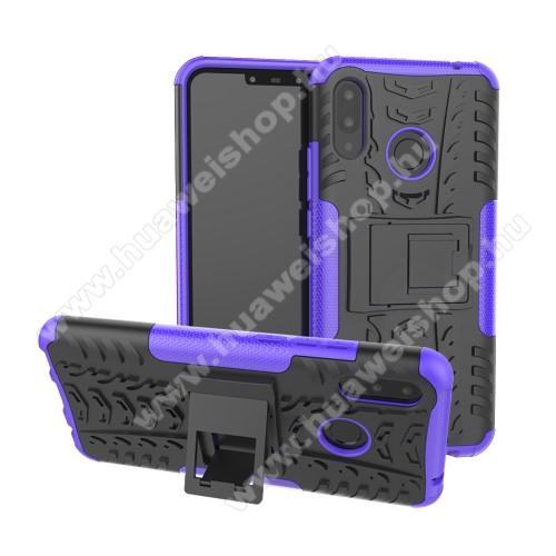 OTT! VROOM műanyag védő tok / hátlap - LILA - AUTÓGUMI MINTÁS - szilikon betétes, asztali tartó funkciós, ERŐS VÉDELEM! - HUAWEI nova 3i / HUAWEI P Smart+
