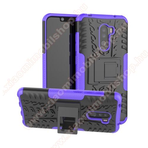 OTT! VROOM műanyag védő tok / hátlap - LILA - AUTÓGUMI MINTÁS - szilikon betétes, asztali tartó funkciós, ERŐS VÉDELEM! - Xiaomi Pocophone F1