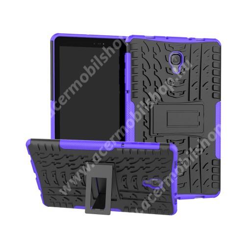 OTT! VROOM műanyag védő tok / hátlap - LILA - AUTÓGUMI MINTÁS - szilikon betétes, asztali tartó funkciós, ERŐS VÉDELEM! - SAMSUNG SM-T590 Galaxy Tab A 10.5 Wi-Fi / SAMSUNG SM-T595 Galaxy Tab A 10.5 LTE