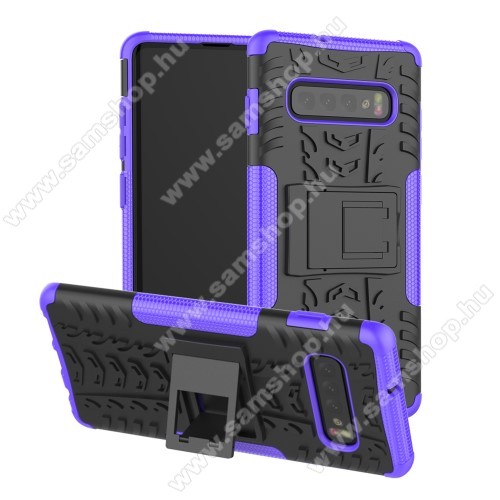 OTT! VROOM műanyag védő tok / hátlap - LILA - AUTÓGUMI MINTÁS - szilikon betétes, asztali tartó funkciós, ERŐS VÉDELEM! - SAMSUNG SM-G973F Galaxy S10