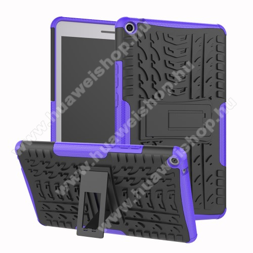 OTT! VROOM műanyag védő tok / hátlap - LILA - AUTÓGUMI MINTÁS - szilikon betétes, asztali tartó funkciós, ERŐS VÉDELEM! - HUAWEI MediaPad T3 8.0