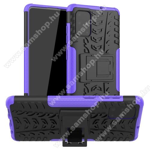 OTT! VROOM műanyag védő tok / hátlap - LILA - AUTÓGUMI MINTÁS - szilikon betétes, asztali tartó funkciós, ERŐS VÉDELEM! - SAMSUNG Galaxy A71 (SM-A715F)