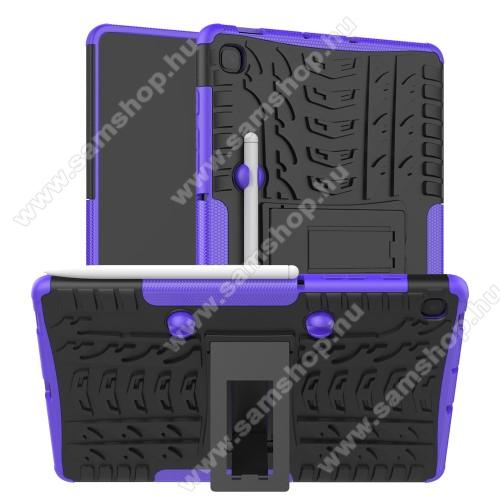 OTT! VROOM műanyag védő tok / hátlap - LILA - AUTÓGUMI MINTÁS - szilikon betétes, asztali tartó funkciós, ceruza tartó, ERŐS VÉDELEM! - SAMSUNG SM-P610 Galaxy Tab S6 Lite (Wi-Fi) / SAMSUNG SM-P615 Galaxy Tab S6 Lite (LTE)