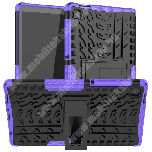 OTT! VROOM műanyag védő tok / hátlap - LILA - AUTÓGUMI MINTÁS - szilikon betétes, asztali tartó funkciós, ERŐS VÉDELEM! - SAMSUNG Galaxy Tab A7 Lite (SM-T220 / SM-T225)