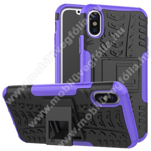 OTT! VROOM műanyag védő tok / hátlap - LILA - AUTÓGUMI MINTÁS - szilikon betétes, asztali tartó funkciós, ERŐS VÉDELEM! - APPLE iPhone X / APPLE iPhone XS