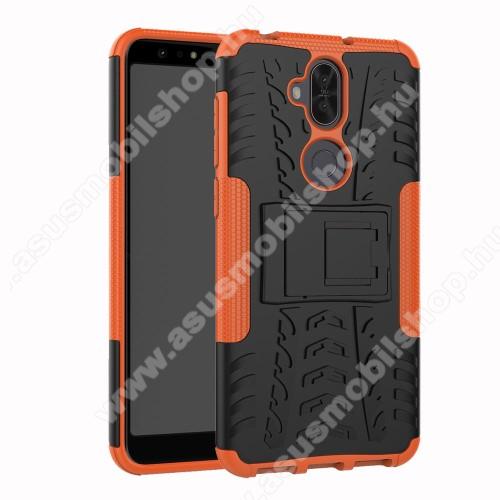 OTT! VROOM műanyag védő tok / hátlap - NARANCS - AUTÓGUMI MINTÁS - szilikon betétes, asztali tartó funkciós, ERŐS VÉDELEM! - ASUS Zenfone 5 Lite (ZC600KL) (2018)