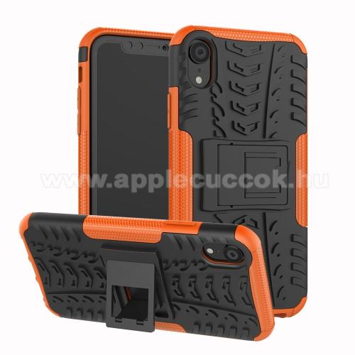 OTT! VROOM műanyag védő tok / hátlap - NARANCS - AUTÓGUMI MINTÁS - szilikon betétes, asztali tartó funkciós, ERŐS VÉDELEM! - APPLE iPhone Xr
