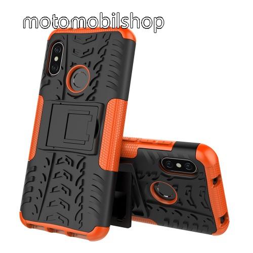 OTT! VROOM műanyag védő tok / hátlap - NARANCS - AUTÓGUMI MINTÁS - szilikon betétes, asztali tartó funkciós, ERŐS VÉDELEM! - Xiaomi Redmi 6 Pro / Xiaomi Mi A2 Lite