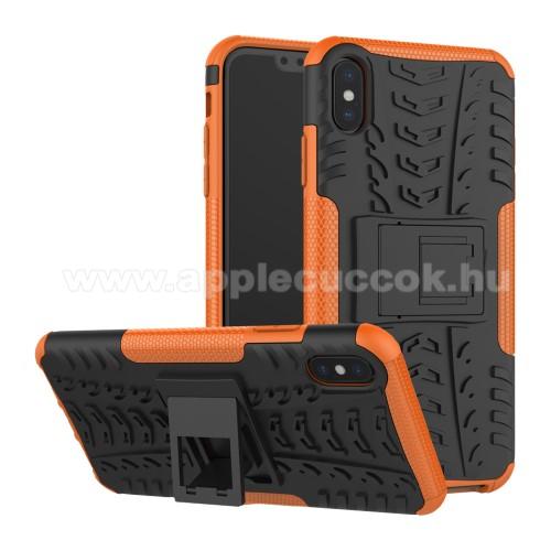 OTT! VROOM műanyag védő tok / hátlap - NARANCS - AUTÓGUMI MINTÁS - szilikon betétes, asztali tartó funkciós, ERŐS VÉDELEM! - APPLE iPhone XS Max