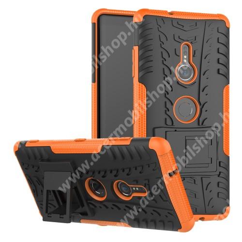 OTT! VROOM műanyag védő tok / hátlap - NARANCS - AUTÓGUMI MINTÁS - szilikon betétes, asztali tartó funkciós, ERŐS VÉDELEM! - Sony Xperia XZ3