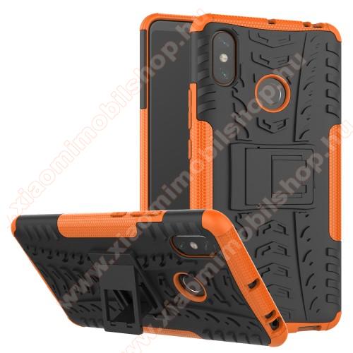 OTT! VROOM műanyag védő tok / hátlap - NARANCS - AUTÓGUMI MINTÁS - szilikon betétes, asztali tartó funkciós, ERŐS VÉDELEM! - Xiaomi Mi Max 3