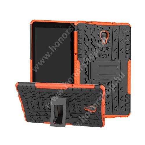 OTT! VROOM műanyag védő tok / hátlap - NARANCS - AUTÓGUMI MINTÁS - szilikon betétes, asztali tartó funkciós, ERŐS VÉDELEM! - SAMSUNG SM-T590 Galaxy Tab A 10.5 Wi-Fi / SAMSUNG SM-T595 Galaxy Tab A 10.5 LTE